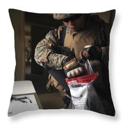A Military Policeman Collects Materials Throw Pillow