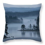 A Misty Forest Lake With A Small Island Throw Pillow