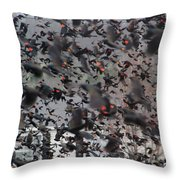 A Mob Of Red-winged Blackbirds Throw Pillow