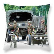 A Mortar Section Of The Belgian Army Throw Pillow