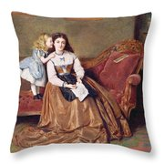 A Mother's Darling Throw Pillow by George Goodwin Kilburne
