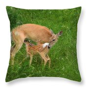 A Mother's Love - Doe And Fawn Throw Pillow