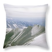 A Mountain Climber Hikes Throw Pillow