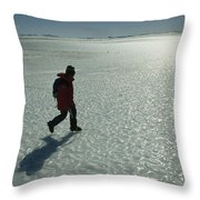 A Mountaineer Crosses A Wind-scoured Throw Pillow