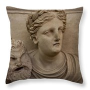 A Nabatean Bust Of A Woman Holdig Throw Pillow