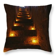 A Narrow Staircase Lit With Candles Throw Pillow