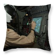 A Naval Flight Officer Tracks Aircraft Throw Pillow