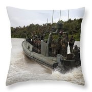 A Navy Riverine Patrol Boat Conducts Throw Pillow