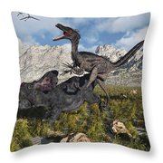 A Pack Of Velociraptors Attack A Lone Throw Pillow