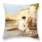 A Painter By The Sea Side Throw Pillow
