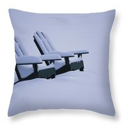 A Pair Of Adirondack Chairs In The Snow Throw Pillow