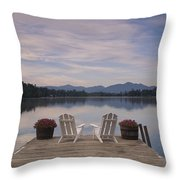 A Pair Of Adirondack Chairs On A Dock Throw Pillow