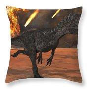 A Pair Of Allosaurus Dinosaurs Running Throw Pillow