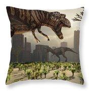 A Pair Of Tyrannosaurus Rex Explore Throw Pillow