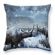 A Pair Of Woolly Rhinoceros In A Severe Throw Pillow