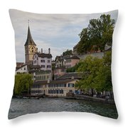 A Panorama View Of Zurich Throw Pillow