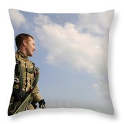 A Paratrooper Looks On As Other Throw Pillow