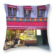A Paris Bistro Throw Pillow