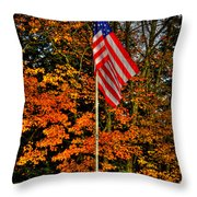 A Patriotic Autumn Throw Pillow