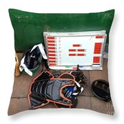 A Peak Into The Dugout During A Baseball Game Throw Pillow