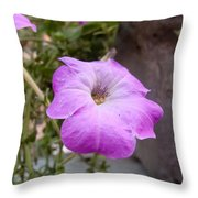 A Photo Of A Purple Trumpet Shaped Flower Throw Pillow