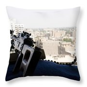 A Pk 7.62mm Machine Gun Nest On Top Throw Pillow by Terry Moore