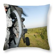 A Platoon Sergeant Prepares To Land Throw Pillow