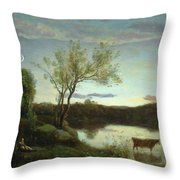 A Pond With Three Cows And A Crescent Moon Throw Pillow