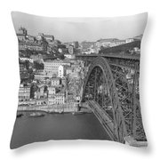 A Portion Of Porto And Its Large Throw Pillow