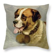 A Portrait Of A St. Bernard Throw Pillow