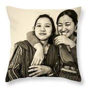 A Portrait Of Good Friends Throw Pillow