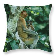 A Proboscis Monkey Throw Pillow