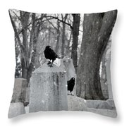 A Quiet Winter Day At The Graveyard Throw Pillow