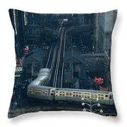 A Railway Encircles Thirty-five Blocks Throw Pillow