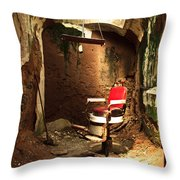 A Red Barber Chair In A Spotlight  Throw Pillow