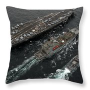 A Replenishment At Sea Between Uss Throw Pillow