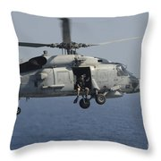 A Rescue Swimmer Prepares To Jump Throw Pillow