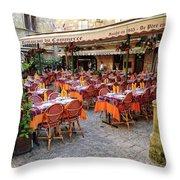 A Restaurant In Sarlat France Throw Pillow