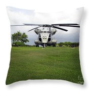 A Rh-53d Sea Stallion Helicopter Throw Pillow