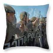 A Riot Control Team Braces Throw Pillow by Stocktrek Images