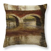 A River Landscape With A Bridge  Throw Pillow