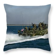 A Riverine Command Boat During Exercise Throw Pillow