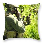 A Riverine Soldier Radios In Mock Throw Pillow