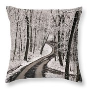 A Road Running Through Snow-covered Throw Pillow