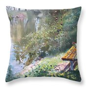 A Rose On The Bench Throw Pillow