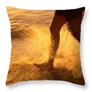 A Runner Splashing Through The Surf Throw Pillow
