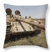 A Russian T-55 Main Battle Tank Throw Pillow