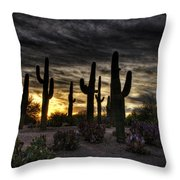 A Saguaro Sunrise  Throw Pillow