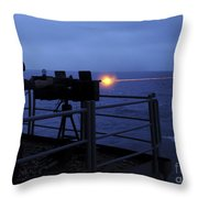 A Sailor Fires A .50-caliber Machine Throw Pillow