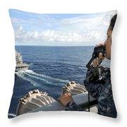 A Sailor Stands Forward Lookout Watch Throw Pillow